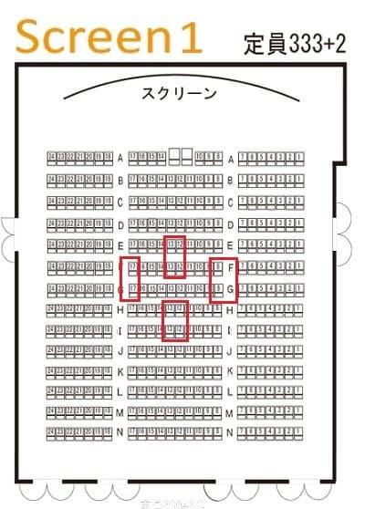 シネマート新宿 シアター1 見やすい座席